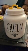 New Rae Dunn •Canister Large • Chubby • QUEEN Bee 🐝 Yellow Handle Happy Kind