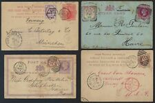 UK GB 1874 94 FOUR POSTAL CARDS THREE UPRATED ONE FRANKED W/SG 49 TO FRANCE GERM
