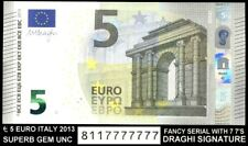 bucksless 2132: ITALY €5 Euro 2013 S002, FANCY SERIAL 811777777, GEM UNC, DRAGHI