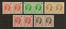 RHODESIA & NYASALAND 1954-56  PERF PLATE PROOF PAIRS OF (5) LOW VALS EX WATERLOW