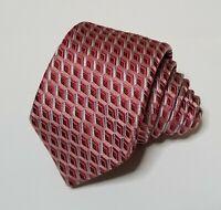 Hugo BOSS 100% Silk Tie Mens Skinny Necktie Red Multicolor Rhombus Geometric