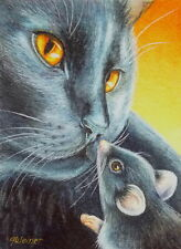 50% OFF SALE! ACEO Limited Edition Print Halloween Black Cat & Black Mouse Truce