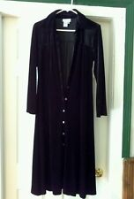 Coldwater Creek Dress Women's Long Black Velvet Button Down Size 6P Maxi Casual