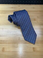 Canali Silk Neck Tie Blue Geometric Made In Italy Recent