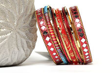 Women's Fashion Diamond Mirror Bollywood  Bangles Bracelets Red/Gold