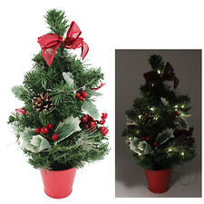 40cm Pre-Lit Artificial Holly Christmas Tree with Decorations