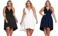 New Ladies White Black Sleeveless V Neck Hi-lo Party Dress Plus Size 16 18 20 22