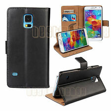 for Samsung galaxy S5 black genuine leather flip case wallet pocket stand i9600