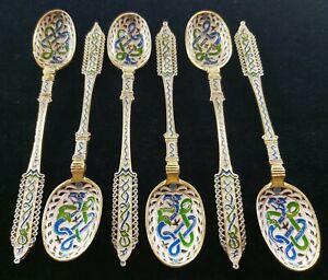 Set Of 6 Antique Peter Hertz 924 Sterling Silver Enamel Spoons 73,4 Grams