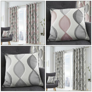 LENNOX Geometric Ogee Wave Vertical Print Lined Eyelet Ring Top Curtains Pair