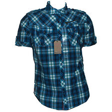 Mens Short Sleeve Slim Fit Casual Shirts Cotton Smart Work Blue Green