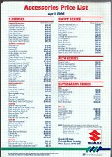 Suzuki Accessories Price List 1986 UK Market Single Sheet Brochure Swift SJ