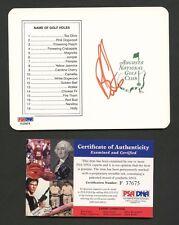 Ben Curtis Golfer Signed Augusta Scorecard PSA/DNA COA AUTO Autograph