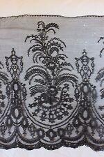 """Antique Handmade 19thC Chantilly Lace Head Scarf c1870~1yd 4""""L  X 18""""W"""