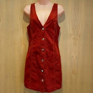 Miss Selfridge Dress 10 Rust Burnt Orange Red Corduroy Pinafore Mini Short