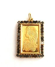5 Gram, PAMP SUISSE - LADY FORTUNA GOLD BAR IN 18K GOLD PRECIOUS STONE PENDANT