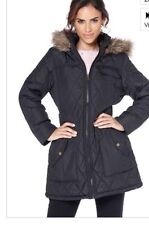 Womens Brave Soul Black Quilted Jacket With Faux Fur Trim On Hood Size 20 New