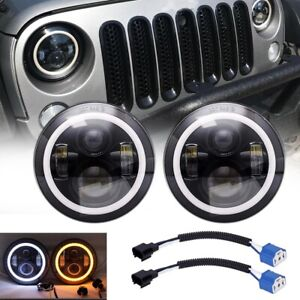 "2X 7""INCH 200W LED Headlight Hi/Lo Beam Halo Ring DRL For Jeep Wrangler CJ JK"