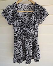 Portmans Women's Grey Black & White Animal Print Short-Sleeve Top - Size XS