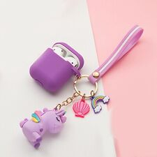 AirPods case Cartoon with keychain unicorn Accessories Silicone case fashion