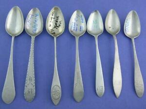 Variety Lot 7 Early Coin Silver Spoons w/ various makers marks - nice ones