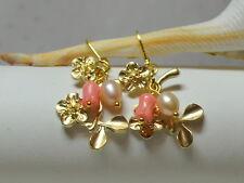 Koralle Ohrringe Ohrhänger Blüten Kirschblüten Hanami Brisuren vergoldet