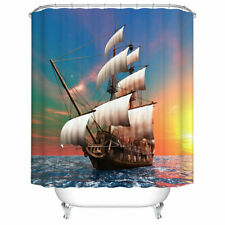 Shower Curtain Decor Set Sailing Old Merchant Ship PictureBath Curtains 12 Hooks