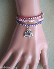 Pink Purple Beaded Cord Buddha Charm Meditation Bracelet Yoga Karma