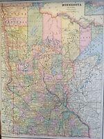 Antique COLOR MAP of Minnesota-circa 1893