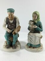 "Set Of 2 Handmade FBIA Figures. Man Whittling & Woman With Dog. 7.5"" Vintage"