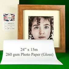 "24"" x 15m 260gsm Inkjet GLOSS Photo Paper Roll High Quality Instant Dry"