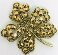 Large Signed WEISS Rhinestone Brooch Rare Bronze Stones Leaf Vintage Jewelry