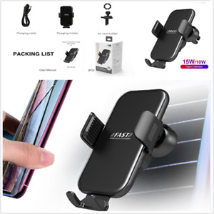 Wireless Phone Car Fast Charger Vent Holder Fit For Most Smart Phones 10-15W