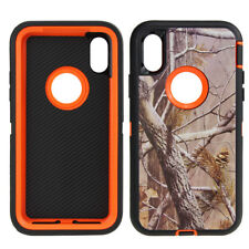 iPhone X Xs Case Camo Cover (Clip fits Otterbox Defender) Tempered Glass Screen