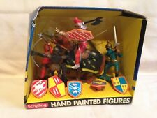 Schylling Hand Painted Figures Silver Knight medieval horse playset swords armor