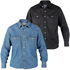 Duke London Mens King Size Big Tall Long Sleeve Western Denim Shirt Top