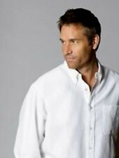 New NATURAL BASIX Men's White Short Sleeved Linen/Rayon Shirt Size L