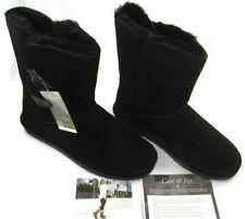 BEARPAW Abigail Black Women's Size 9 M, Fashion Boots Suede Sheepskin Wool Lined
