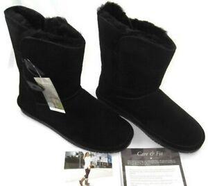 BEARPAW Abigail Black Women's Size 9 M Fashion Winter Boots Suede NWT Wool Lined