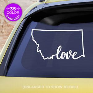 "Montana State ""Love"" Decal - MT Love Car Vinyl Sticker - Add a heart over a city"