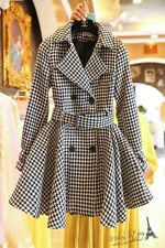 Oversized  trench coat HOUNDSTOOTH wool blend jacket plus 1x-10x (SZ16-52) TY18
