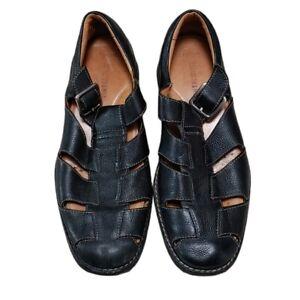 Johnston & Murphy Black Leather Fisherman Sandals Mens 8.5M