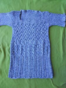 Handarbeit hand-knitted Pullover Größe Kinder 140 Erwachsene XXS blau weiß