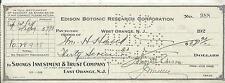 RARE THOMAS EDISON 1928 EDISON BOTONIC RESEARCH CORP SIGNED CHECK!!