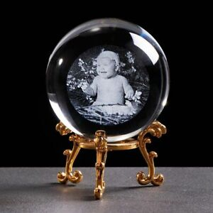 Personalized Glass Photo Ball Crystal Lase Engraving Customized Home Decor Globe