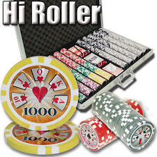 NEW 1000 Piece High Roller 14 Gram Clay Poker Chips Set Aluminum Case Pick Chips