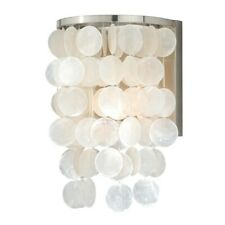 Vaxcel Elsa Capiz Shell 8' Wall Light, Satin Nickel - W0153