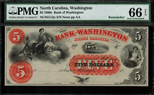 1860's $5 Obsolete - Washington, North Carolina - Graded PMG 66 EPQ - Gem Unc.