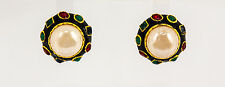 Kenneth Jay Lane Gold Black Enamel Multi Dark Gem Pearl Center Button Earrings