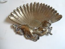 Chunky Brass Art Nouveau Scalloped Dish With Cherub - Angel Detail